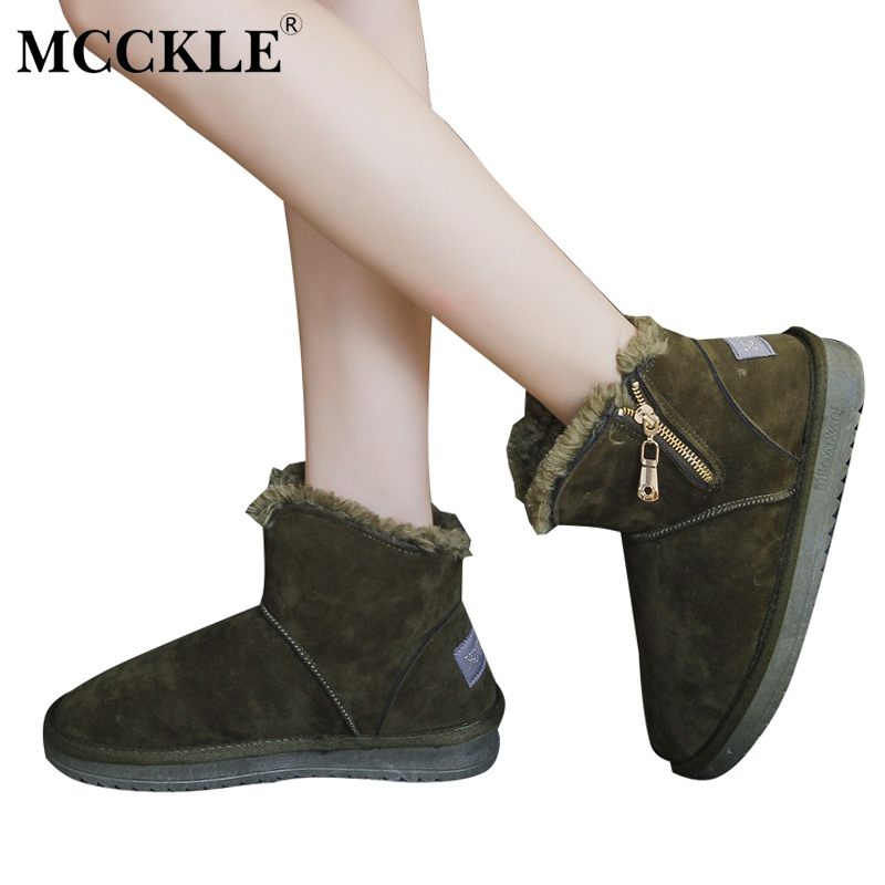 MCCKLE Female Fashion Zip Winter Warm Plush Ankle Snow Boots Ladies Slip On Casual Fur Black Style Suede Comfortable Shoes mcckle female winter warm plush ankle snow boots 2017 women fashion lotus leaf side fur slip on platform solid style shoes