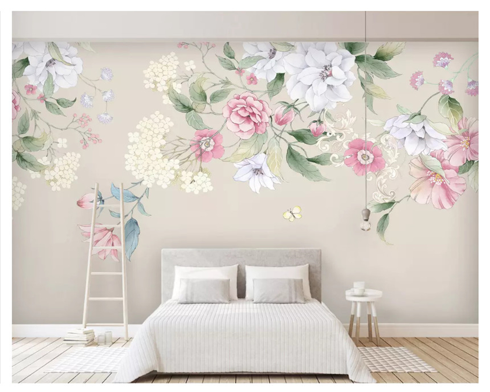 beibehang Modern classic three-dimensional wall paper hand painted watercolor floral modern minimalist TV background wallpaper
