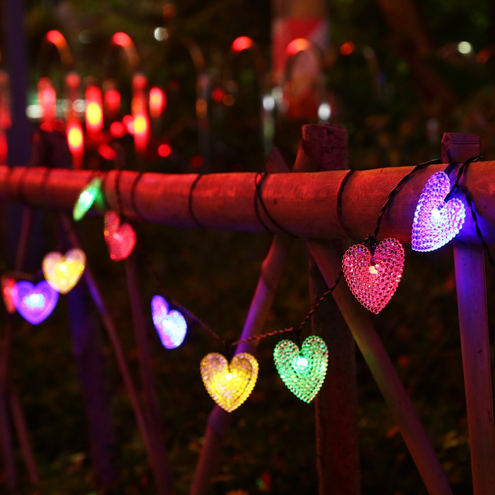 4.8m 20 LED Hearts Strings Fairy Lights with Solar Panel Waterproof String Light for Festival Outdoor Garden Christmas Party New