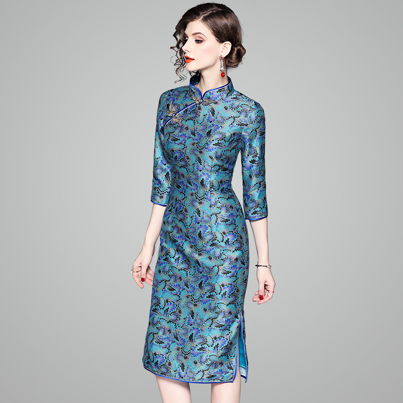 autumn ladies cheongsam dress 2018 new Superior quality spring Women Clothing Chinese Style Print party Dress