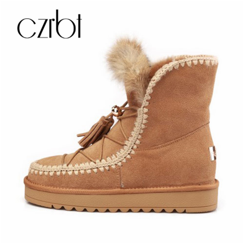 все цены на czrbt 2018 Fashion Tassels Natural Fur Snow Boots Real Cow Suede Leather Snow Boots For Women Winter Wool Fur Ankle Boots