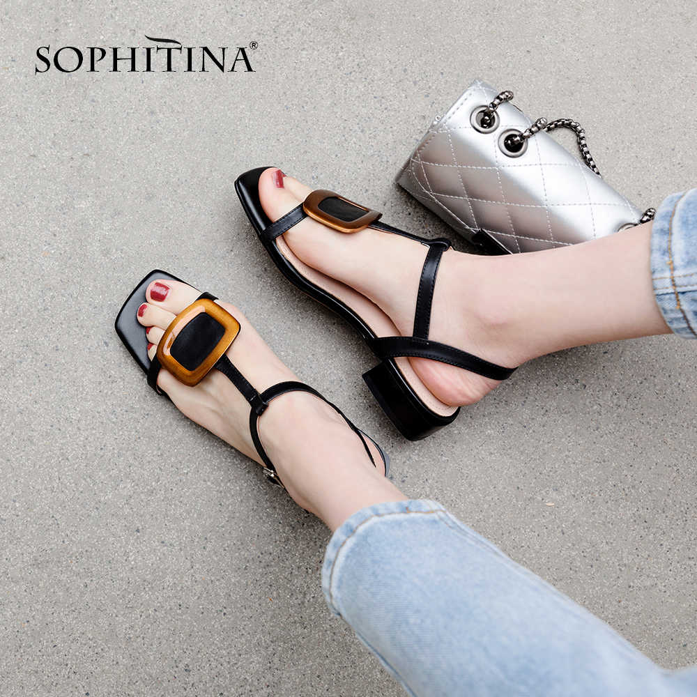 SOPHITINA Thời Trang Da Thật Chính Hãng Da Giày Sandal Nữ Cổ Khóa Dây Đeo Đầu Vuông Giày Mùa Hè Gót Vuông Giày Sandal Nữ PO193