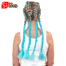 Silike 52 inch Opened Crochet Braids Kanekalon Jumbo Braid Synthetic Hair 70g/piece Crochet False Hair Extensions 1 pack/lot