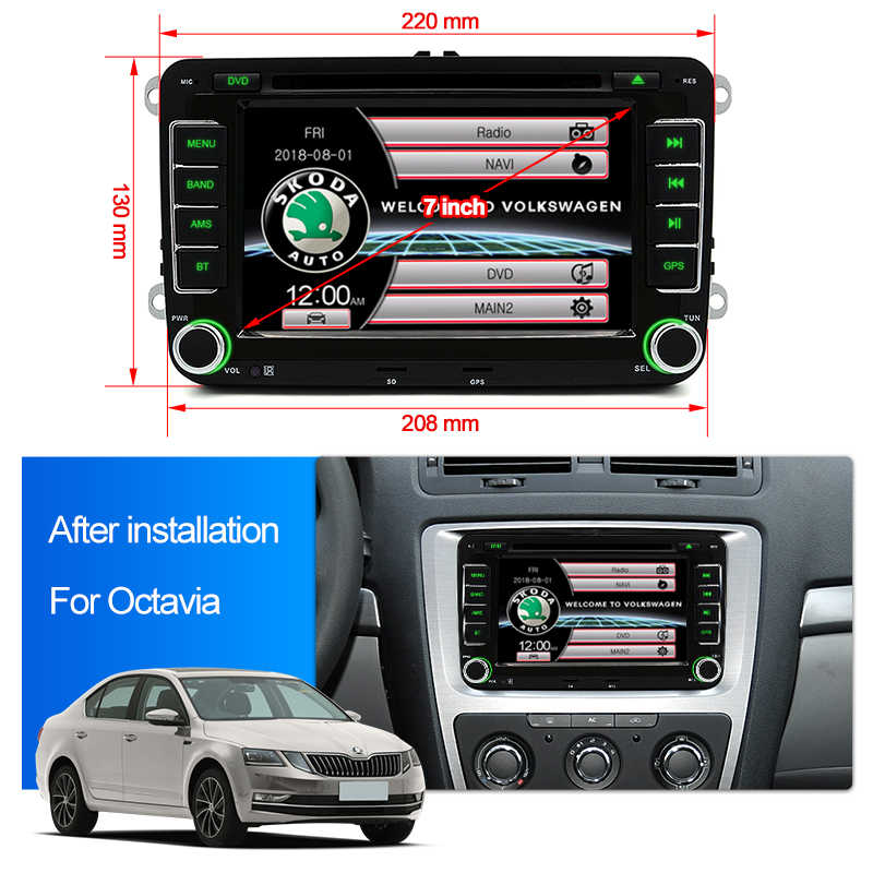 "Junsun 2 din 7"" Car DVD Radio Multimedia Player For VW/Skoda/Octavia/Fabia/Rapid/Yeti/Seat/Leon GPS Navigation car audio stereo"