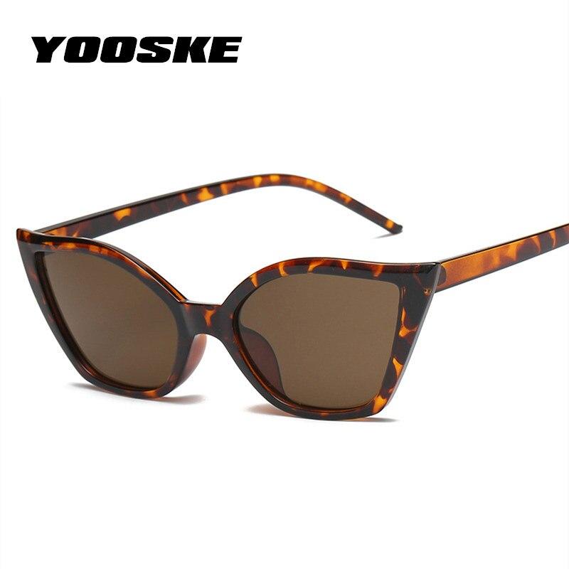 YOOSKE Sexy Cat Eye Sunglasses Women Brand Designer Vintage Black Red Leopard Frame 90S Retro Cateye Sun Glasses Shades