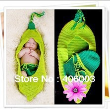 Free Shipping Newborn Handmade clothes Baby Pea sleeping bag Whit Beanie Hat Matching Shorts Photography Prop Costume