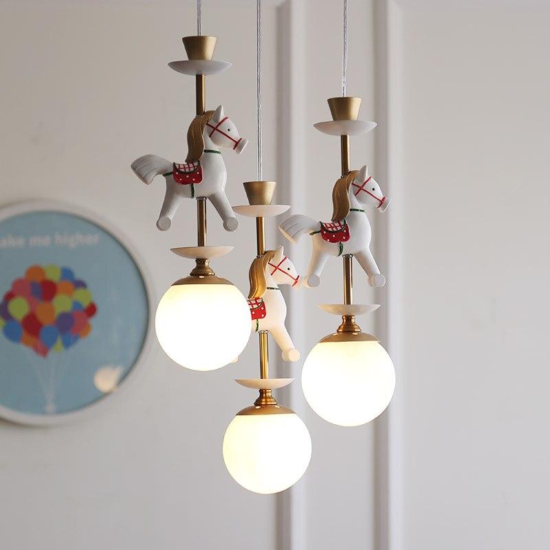 Qiseyuncai nordique Simple chambre d'enfants carrousel lustre Bar Table Hall Restaurant garçons et filles chambre lampes - 2