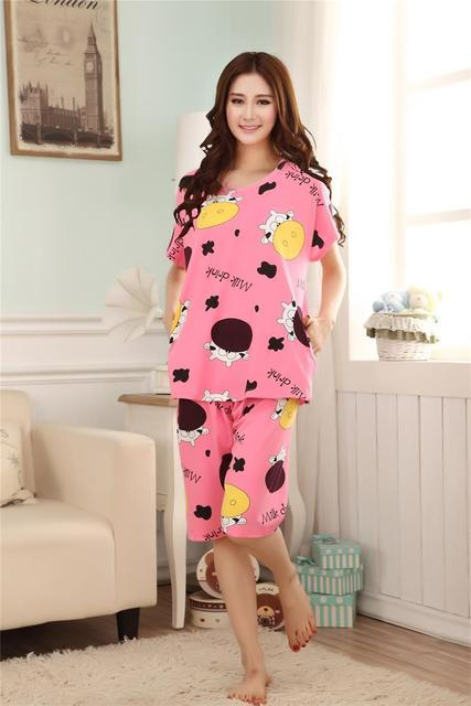 144e8597ec girl sleeping clothes sets women pajamas sleepcoat nightgown nighty short  sleeve tops tees+full pants bedgown