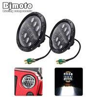 BJMOTO Schwarz/Chrom 7 Zoll 80 Watt High/Low LED Auto Scheinwerfer DRL 12 V 24 V antriebskopf Licht für Jeep Wrangler Land Rover Defender