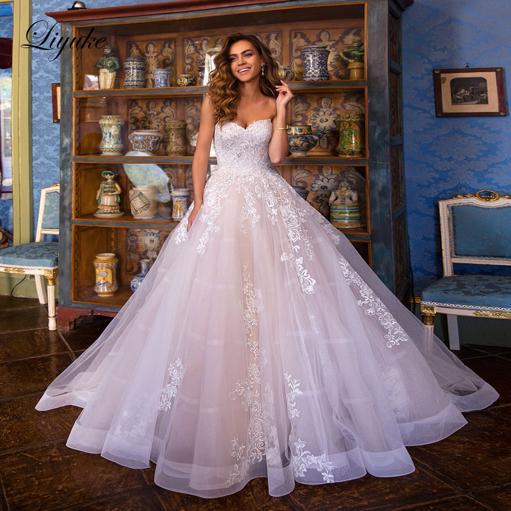 Liyuke Strapless A-Line Wedding Dress With Lace Up Floor Length Princess Wedding Gown