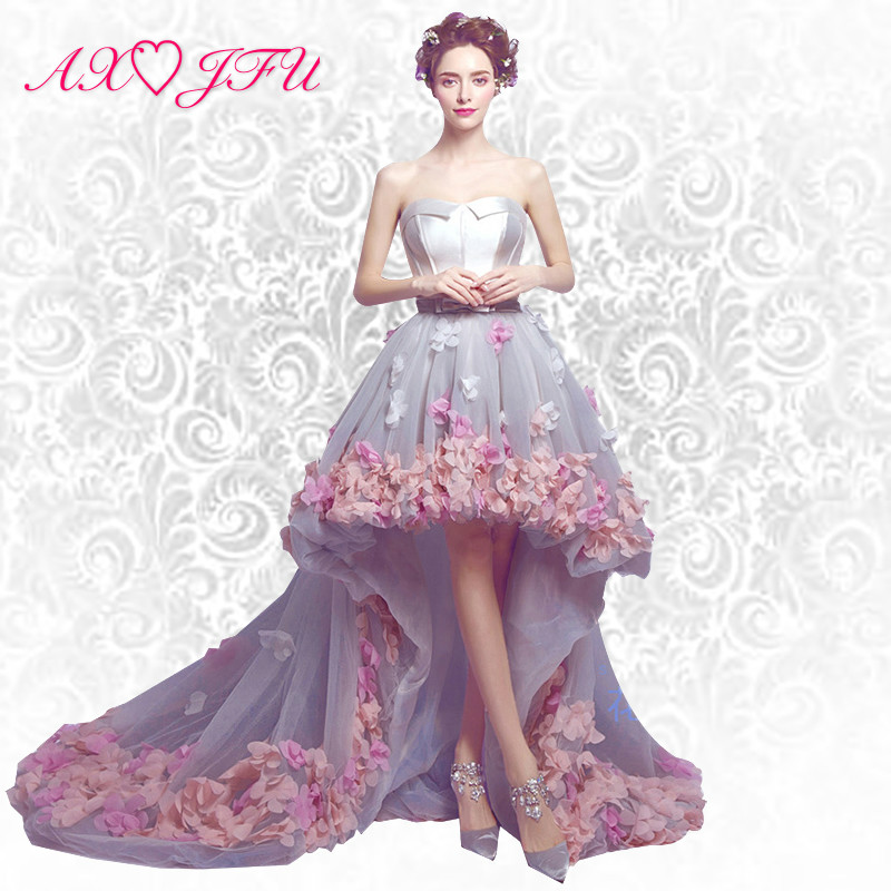 AXJFU Before long and short Korean pink flower princess trailing evening dress luxury flower lace evening dress