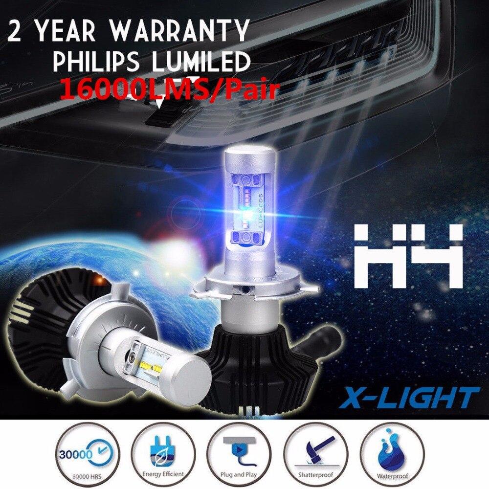 Car 160W 16000LM LED Headlight Canbus Kit W/ PhilipsLUMILEDs For H4 9003 HB2 Hi lo Fog Beam White 9005 HB3 9006 HB4 H7 H8 H11