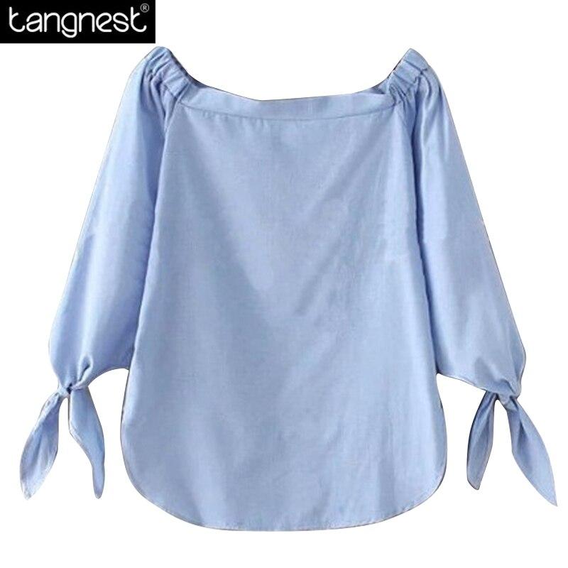 blauw witte blouse