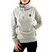 Зима-осень 2016 Для женщин Худи женский теплый с капюшоном толстовка с длинными рукавами и карманами Повседневное свободные Пуловеры плюс Размеры S-5XL