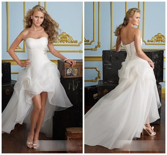 Fast delivery  new arrival  W-909 fashion strapless short front long back organza modern wedding dress