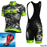 2017 ALE Camouflage Lycra Cycling Jersey Bib Set Ciclismo Bike Clothes Suit Bicycle Racing Clothing Quick