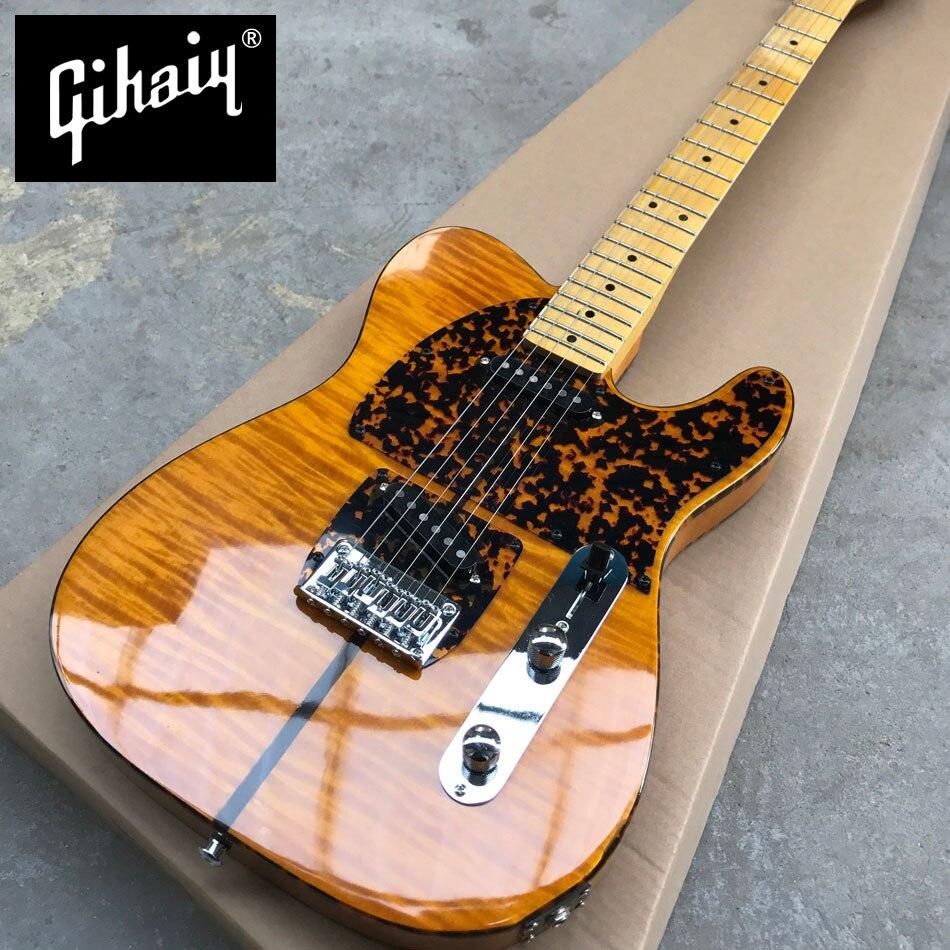 Nouveau style de haute qualité personnalisé tele guitare électrique, Érable touche, Érable Flammé guitare, livraison gratuite