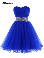 Royal Blue Simple Sweetheart Pleats Crystal Prom Dress Short Custom Made Dress 2015 New Vestido De