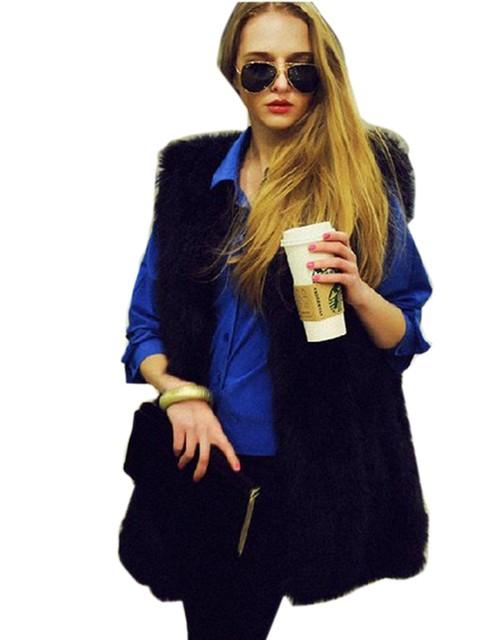 Hot Chic Señora de Piel Falsa Chaleco Winter Warm Coat Jacket Outwear Pelo Largo Chaleco