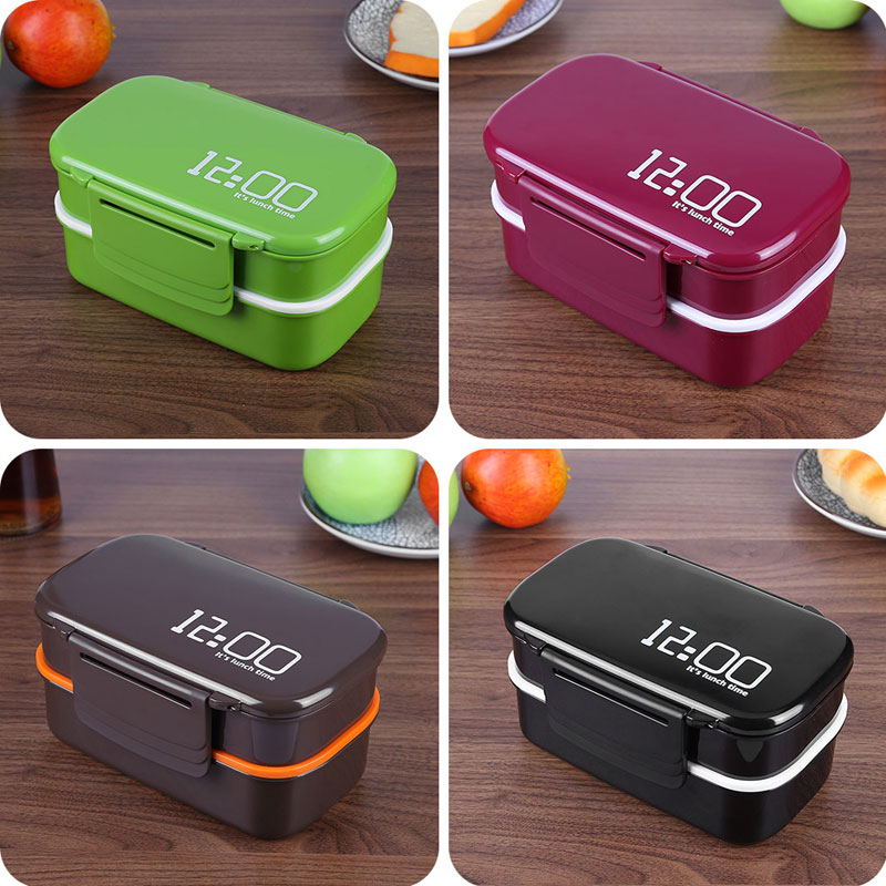 Large Capacity Food Container 1400ml lunchbox Lunch Container 12:00 Double Layer Eco-Friendly Microwave oven Bento Box Lunchbox