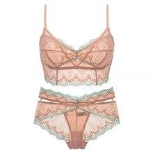 13e2bf0e9 CINOON Marcas Underwear rendas Bralette Flor aro conjunto de lingerie de renda  Ultra-fino breves conjuntos de sutiã Macio E Conf.