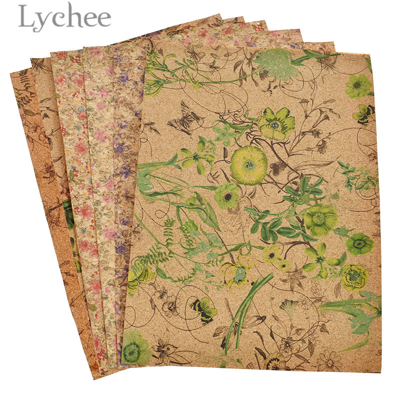 Lychee Life 1PC A4 Flower Printed Soft Cork Leather Fabric High Quality Synthetic Leather DIY Material For Handbag Garments