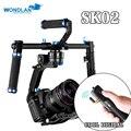 Dhl wondlan sk02 3-axis gimbal brushless gimbal estabilizador handheld dupla alça para sony dslr canon câmeras de carga 2 kg