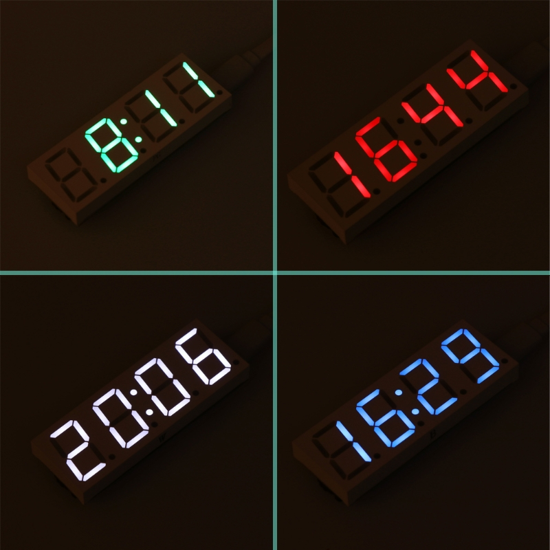 OOTDTY DS3231 Electronic DIY 0.8inch Dot Matrix LED Clock Kit 4 Digit Display 5V Mciro USB Car Clock image