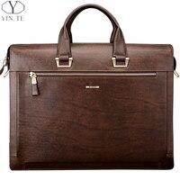 YINTE модные Для Мужчин's Портфели кожа Для мужчин сумки Высокое качество Бизнес сумка мессенджер Для мужчин сумка коричневый портфель T8277 6