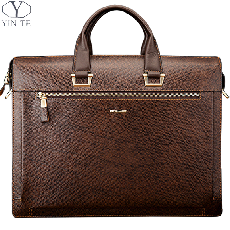 YINTE Fashion Men's Briefcase Leather Men Handbag High Quality Business Messenger Men Shoulder Bag Brown Totes Portfolio T8277-6 yinte leather men s briefcase black bag fashion business messenger totes laptop bag ostrich prints men s portfolio t8518 6