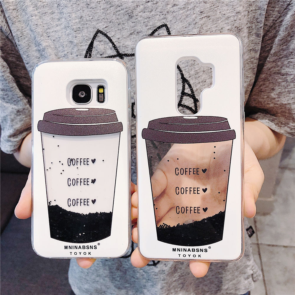 Galleria fotografica For Samsung Galaxy S9 S8 Plus Phone Case Coffee Cup Liquid Quicksand Silicone Cover For Samsung S7 Edge J5 J7 2017 Phone bag
