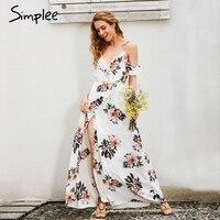 Simplee Floral Print Ruffles Chiffon Long Dress Women Strap V Neck Split Beach Summer Dress Sexy