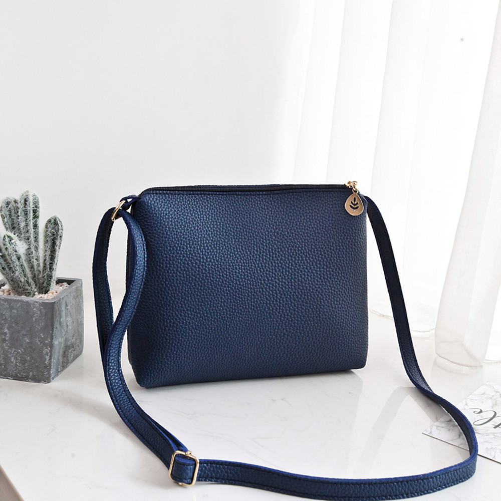 Fashion Women Litchi pattern leaf pendant shoulder bag diagonal cross bag purse mobile phone bag#40 shoulder bag