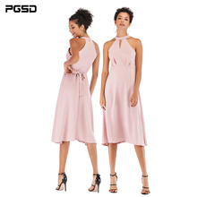 PGSD New Summer Pure Fashion Women Clothes Pink halterneck zipper frenulum Lace up Elastic waist mid-length Chiffon Dress female