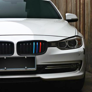 Volkrays Car Accessories Front Grille Three-color Reflective Color Strip Sticker Decal for BMW E46 X1 X3 X4 X5 X6 M1 M2 M3 M5 image