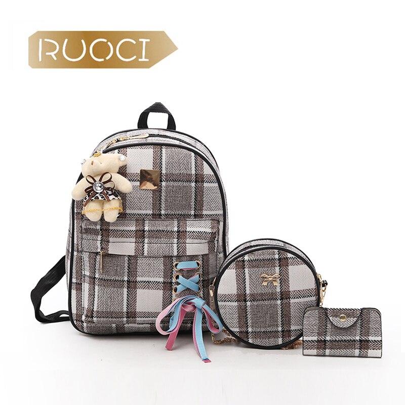 RUOCI Для женщин Комплект из 3-х предметов рюкзак сумки Grils ленты Школьная Сумка Lady кожа ноутбук моды путешествия женственный mochila сумка