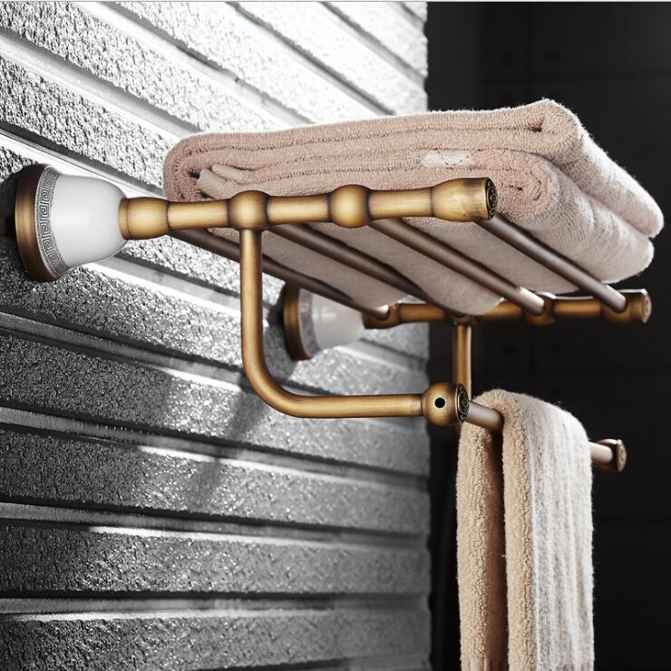 Antique Fixed Bath Towel Holder Wall Mounted Towel Rack 60 cm Brass Towel Shelf Bathroom Accessories Luxury Brass Towel Rail bathroom thickened antique bath towel frame wall hanging rack full copper bathroom accessories set fixed towel rack