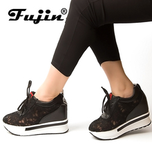 Fujin Brand 2018 Hidden Heel Lace Mesh Spring Summer Autumn Wedge Shoes For Women Creepers Female Platform Slip on Sneakers
