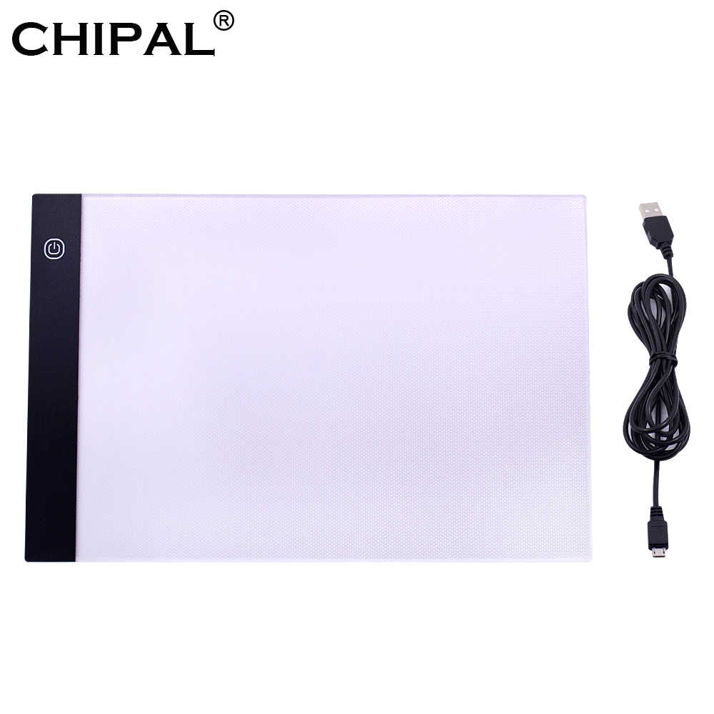 Chipal A4 LED Menggambar Tablet Digital Graphics Pad USB Lampu LED Kotak Copy Papan Elektronik Seni Grafis Lukisan Menulis Tabel