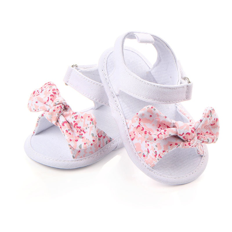 Summer Sweet Baby Shoes Girl Princess Big Bow Floral First Walkers Soft Soles Anti-Slip Baby Cots Bebe Shoes