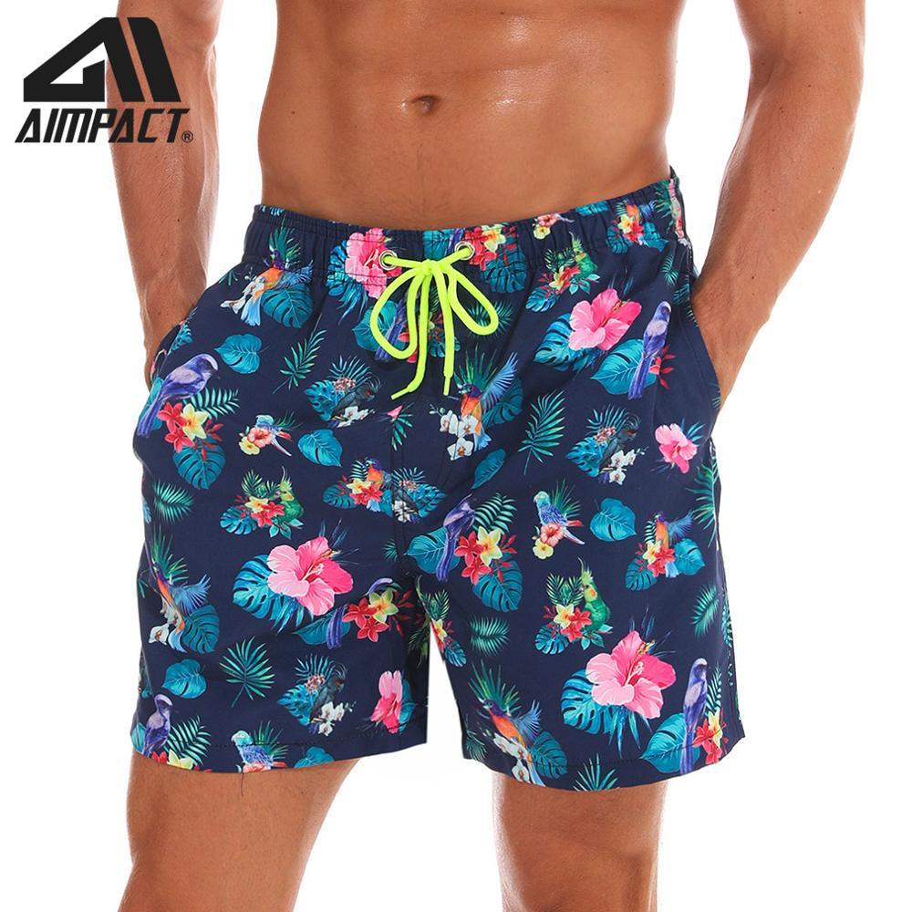 Aimpact Mens Board Shorts Flower Quick Dry Summer Beach Swim Hybrid Shorts Fashion Surf Hawaii Mesh Lining Liner Trunks AM2199
