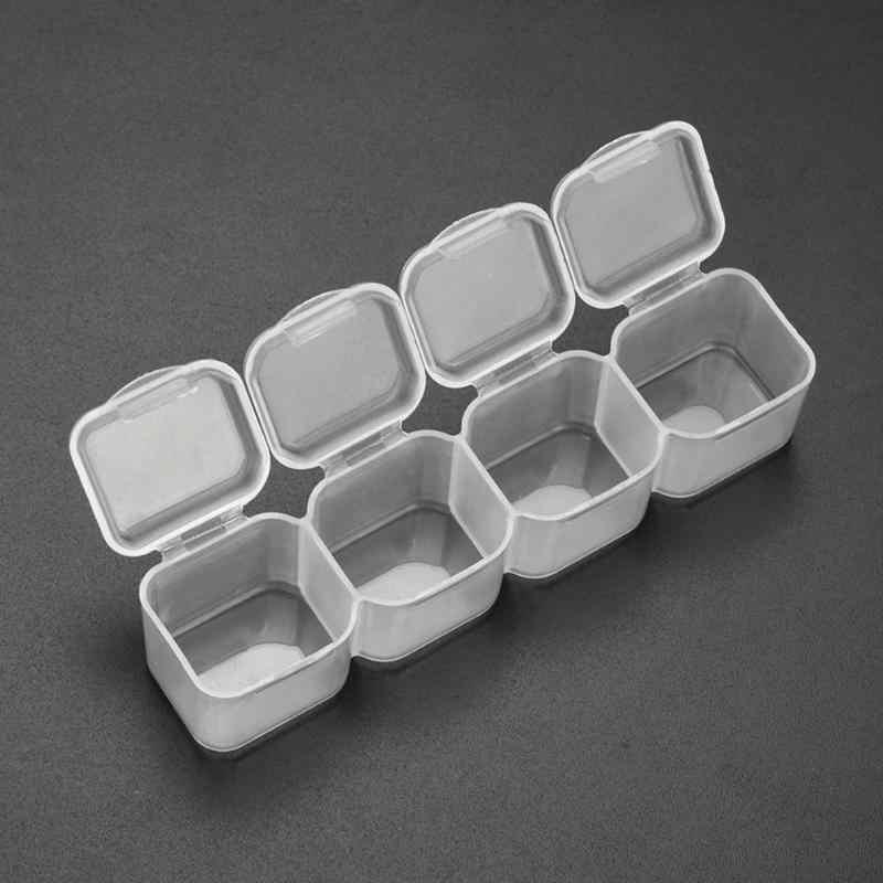 4 กริดมินิกล่องยาพลาสติก Splitters โปร่งใสลูกปัด Rhinestone กล่องเก็บกรณียากล่องเครื่องประดับ