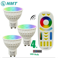 4W GU10 led spotlight bulb lamp Mi Light RGB CCT Dimmable 85 265V led spotlight Indoor Decoration + 2.4G RF LED Remote Control