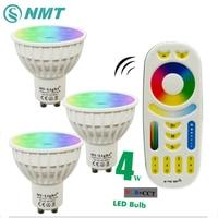 4W GU10 led spotlight bulb lamp Mi Light RGB CCT Dimmable 85 265V led spotlight Indoor Decoration + 2.4G RF LED Remote Control