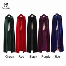 ROLECOS Halloween Cloak Costume Adult Witch Long Purple Green Red Black Hood and Capes Halloween Costumes for Women Men Cloak