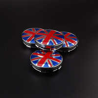 4pcs ABS 60mm Round Union Jack UK British Flag Logo Emblems Badges Wheel Center Hub Caps