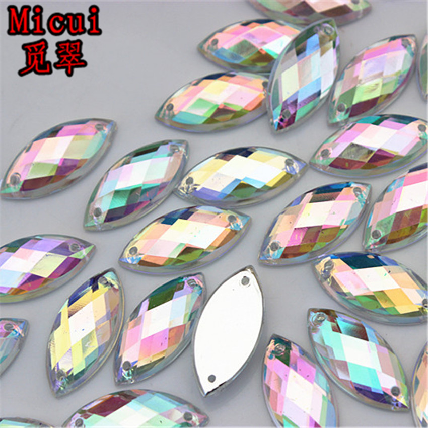 Micui 100PCS 9*20mm Crystal Clear AB Rhinestones Sew On Acrylic Flatback Horse Eye Strass Stones For Clothes Dress Crafts ZZ41A