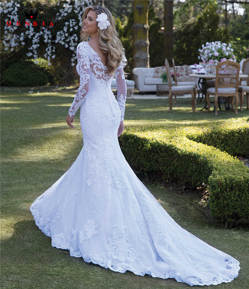 Sexy Wedding Dress Mermaid Long Sleeve Lace Pearls Appliques Gorgesous 2019 New Design Bride Dresses Custom