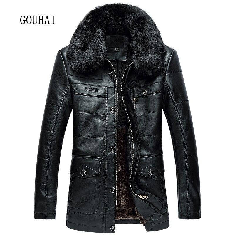 2019 New Long Winter Jacket Mens Leather Jacket Fur Collar Business Solid Fleece Soft Mens Faux Fur Coats Plus Size L 4XL