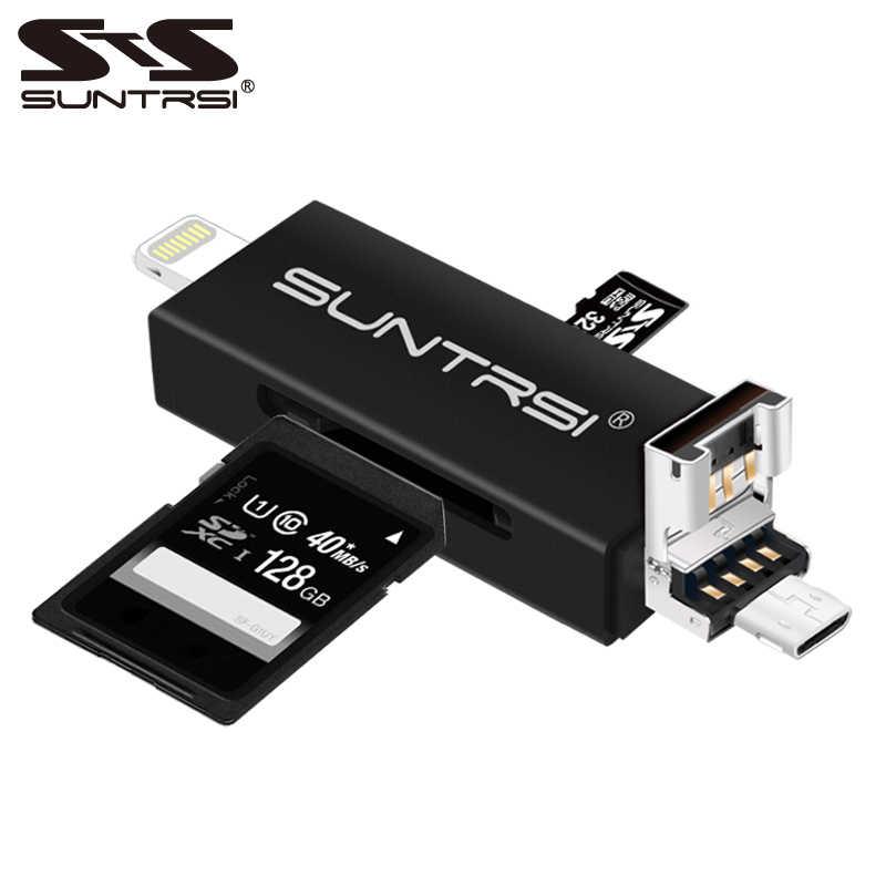 Suntrsi 6 في 1 البرق المصغّر usb قارئ بطاقات مايكرو قارئ البطاقات SD شحن TF/قارئ البطاقات SD لفون/هاتف ذكي/كاميرا/ PC